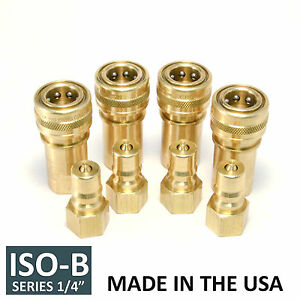 4 Sets 1 4 Iso b Hydraulic Hose Quick Disconnect Couplers Plug iso 7241 1 B