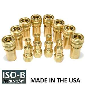 8 Sets 1 4 Iso b Hydraulic Hose Quick Disconnect Couplers Plug iso 7241 1 B