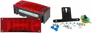 Submersible Trailer Rectangle Led Light Kit stop Turn Tail And License red white