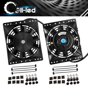 2x 8 inch 12v 800cfm Universal Slim Electric Radiator Cooling Fan With Mount Kit
