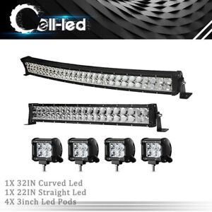 32inch Led Light Bar Curved 34 22 Combo 4 Pods Offroad For Dodge Ram 1500