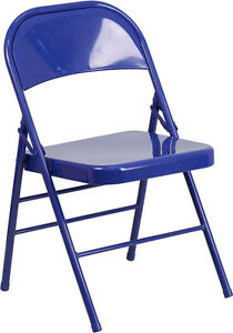 4 Pack Metal Folding Chair Blue Color Triple Braced Double Hinged Heavy Duty