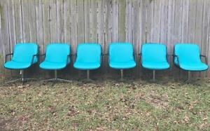 6 Vintage Steelcase Industrial Tanker Desk Mid Century Retro Chairs Unique