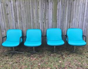 4 Vintage Steelcase Industrial Tanker Desk Mid Century Retro Chairs Unique