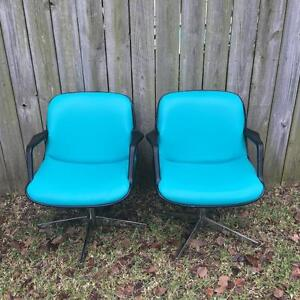 2 Vintage Steelcase Industrial Tanker Desk Mid Century Retro Chairs Unique