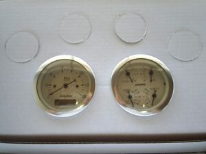 Dolphin 3 3 8 Quad Pro Tan Street Rod Gauge Set Street Rod Hot Rod Universal