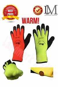 Warm Safety Snow Wlnter Lnsulatated Doubie Lining Rubber Coated Work Gioves