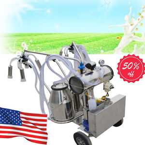 Double Tank Milker Electric Vacuum Pump Milking Machine For Cow Cows Move Wheel