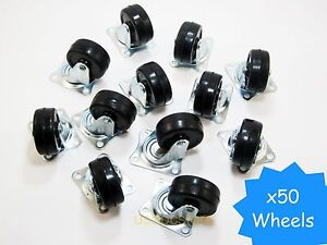 50 Pcs Swivel Caster Wheels 2 Rubber Base With Top Plate Bearing Heavy Duty