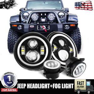 7 Led Halo Headlights 4 Fog Light Drl Combo Kit For Jeep Wrangler Jk 2007 2016