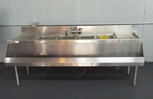Perlick 72 4 Compartment Sink W speed Rails Drain Boards