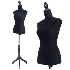 Female Mannequin Torso Dress Form Display W black Tripod Stand Us Styrofoam New
