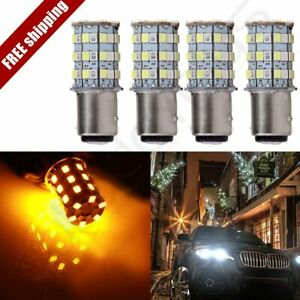 4x 60w 1157 Cree Led White Amber 60 Smd Switchback Hid Turn Signal Light Lamps