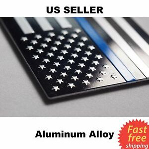 Aluminum Police Officer Thin Blue Line American Flag Decal Sticker 3 2 X 1 75