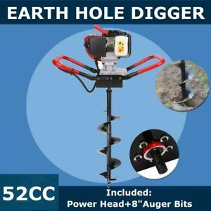 2 3 Hp Gas Powered Post Hole Digger 8 Auger Bits Drill 52cc Power Engine