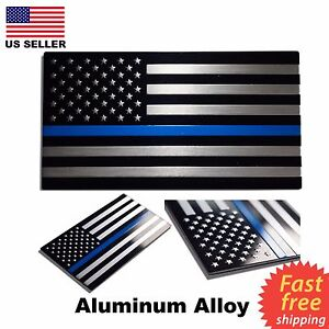 Aluminum Blue Lives Matter Thin Blue Line American Flag Decal Sticker 3 2 X 1 75