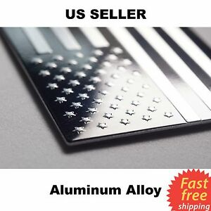 3d Metal American Flag Sticker Emblem Decal Auto Bike Truck Black Silver