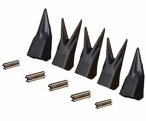 Set Ot 5 Backhoe Mini Excavator Twin single Tiger Teeth W Pins 23tl 23wtl