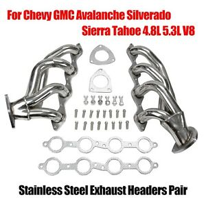Stainless Headers For Chevy Gmc Avalanche Silverado Sierra Tahoe 4 8l 5 3l V8