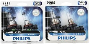 4x Philips 9005 H11 Upgrade More Vision Super Bright Light Bulb 65w Germany Beam