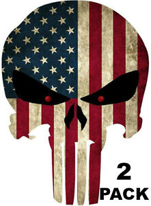 Two Punisher American Usa Sniper Color Flag Skull Die Cut Vinyl Decal Sticker