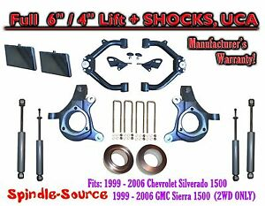 99 07 Chevy Silverado Gmc Sierra 1500 Spindle Lift Kit 6 4 Off Shocks Uca