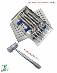 Dental Implantology Sinus Osteotomes Angled Convex Handles free Mead Mallet New