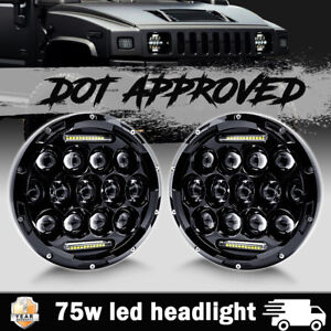 Pair 7 Inch 75w Led Headlight Hi low Beam Driving Fog Drl Lamp For Hummer H1 H2