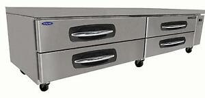 Nor lake Nlcb96 96in Four Drawer Refrigerated Chef Base Equipment Stand