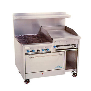 Comstock Castle F3430 24b 48 Gas Range W 4 Burners 24 Raised Griddle