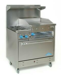 Comstock Castle 36 Commercial Gas Range W 2 Burners 24in Raised Griddle