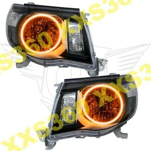 Oracle Halo 2x Headlights Black For Toyota Tacoma 05 11 Amber Led Angel Eyes
