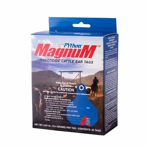 Y tex Python Magnum Insecticide Fly Tags Approved For Use On Dairy Cattle 20ct