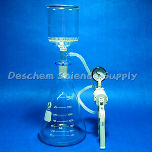 2000ml suction Filtration Kit 90mm Buchner Funnel 2litre Flask Vacuum Pump