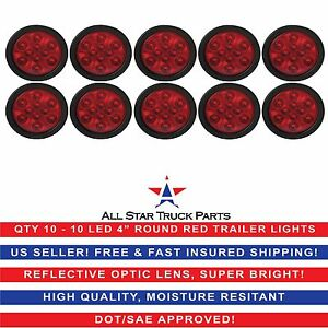 4 Red 10 Led Round Stop Turn Tail Truck Light With Grommet Pigtail Qty 10
