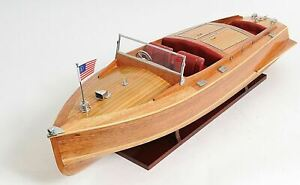 Chris Craft Runabout Speed Boat Double Cockpit 32 5 Built Wood Model Assembled