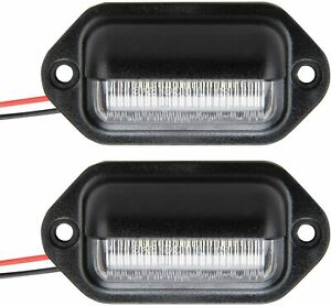 Led License Plate Tag Light Black Boat Trailer Rv Truck Interior Step Light 2pc