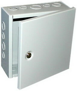Steel Sheet Metal Box Knockout Hinged Cover 10x10x4 Inch Gray Electrical Boxes