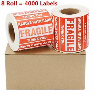8 Rolls 500 roll 2x3 Fragile Stickers Handle With Care Thank You Shipping Labels