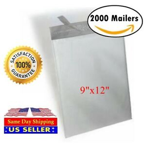 2000 9x12 White Poly Mailer Self Sealing Shipping Envelopes Bags st Shipmailers