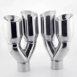 Quad 3 5 Exhaust Tips 2 5 Inlet Dual Wall Angle Cut For Chevrolet C3 Corvette