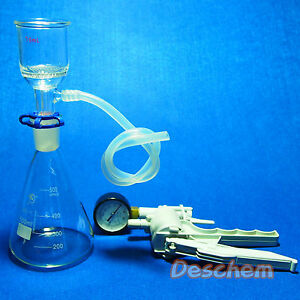 500ml suction Filtration Device 47mm Buchner Funnel glass Flask With Vacuum Pump