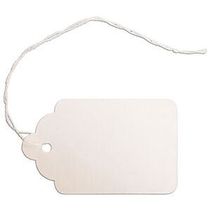 Set Of 1000 New Retail White Merchandise Tag W string 1 5 8 x2 5 8