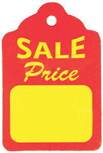 Count Of 1000 Red yellow Unstrung Sales Price Tag 1 25 X 1 88