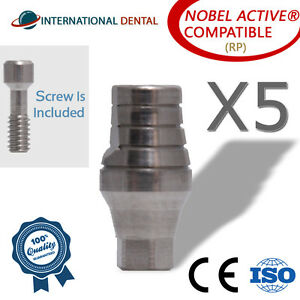5 Straight Abutment 7mm rp For Nobel Biocare Active Hex Dental Implant