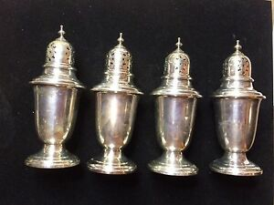 Vintage Set Of 4 Gorham Puritan 758 Salt Pepper Shakers Sterling Silver