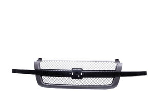 Front Grille Gray W Chrome Center Bar For 03 07 Silverado 1500 Pickup Ss Style