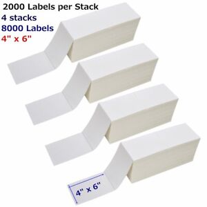 8000 Fanfold 4 X 6 Direct Thermal Shipping Mailing Label Zebra 2844 Usps Ups