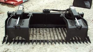 Heavy Duty 84 Dual Cylinder Rock Bucket Brush Grapple W Skid Steer Quick Conne