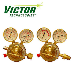 Set Of Genuine Victor Sr450 Series Oxygen Acetylene Regulators Brand New